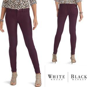 WHBM Coated Skinny Jeans, Cabernet